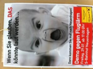 Demo-Plakat - gegen Fluglärm über Neuenhagen