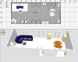 Wohnzimmer - 3D Ansicht und Grundriss