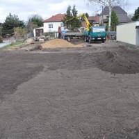 Feinabsteckung, Vorbereitung Bodenplatte und Gartenarbeiten