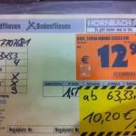 Preispolitik: Fliesen bei Paketabnahme im Baumarkt