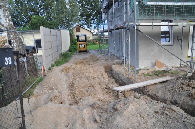 Der Graben für den Gasanschluss