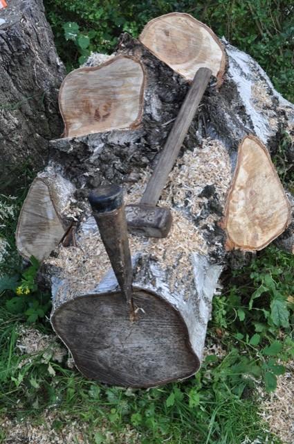 Mit Keil & Spalter an den Baumstumpf