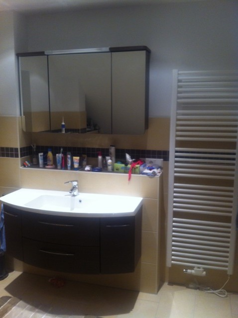 Ansicht: Waschtisch, Spiegelschrank und Handtuchhalter-Heizung
