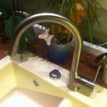 Küchenarmatur in Edelstahl mit Schlauchbrause