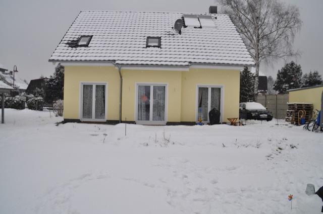 Hausbau im Schnee