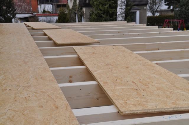 OSB-Platten - Dach des Carport