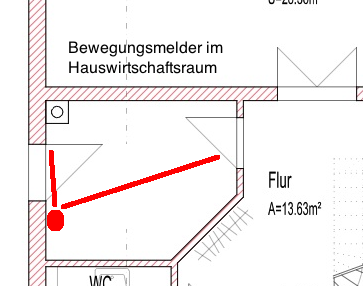 Erfassungsbereich Bewegungsmelder im Hauswirtschaftsraum (Ausgang / Eingang)