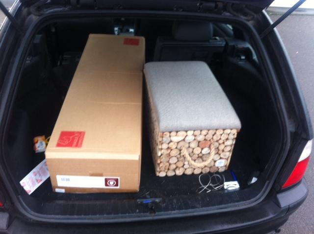 Transport des Einkauf vom Möbelhaus