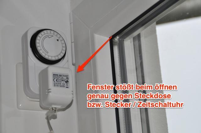 Planungsfehler: Terrassentür mit Steckdose in der Fensterlaibung
