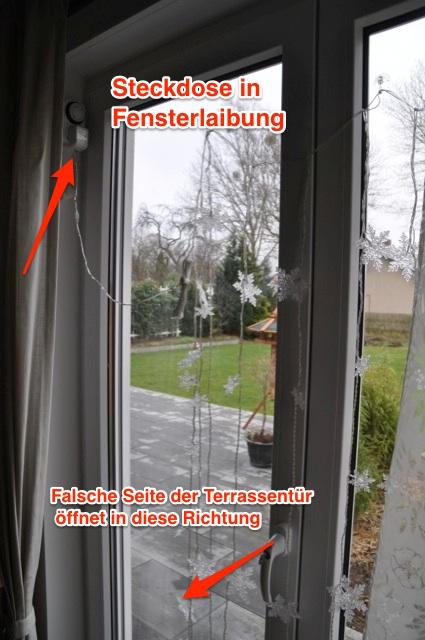 Terrassentür mit Steckdose in der Fensterlaibung