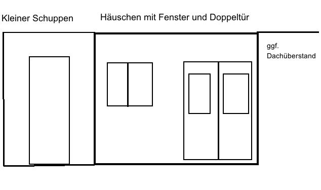 Einfache Planung Gartenhaus mit Schuppen
