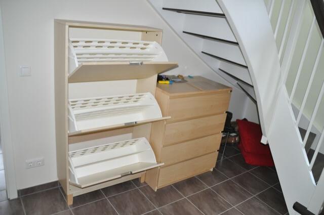 Ikea Schuhregal in Birke als Wandmontage