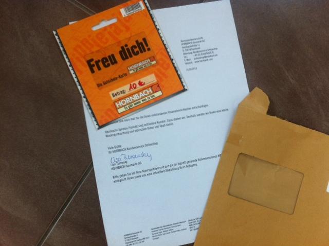 Nach der Beschwerde kam eine Woche später ein Gutschein per Post