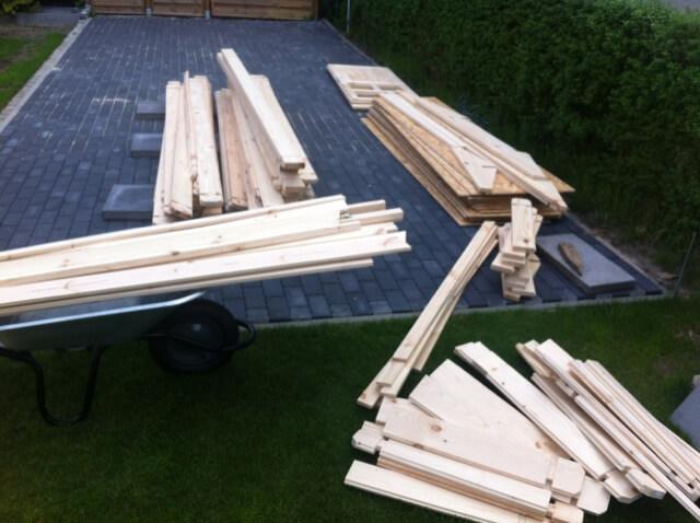Material für unser Gartenhaus