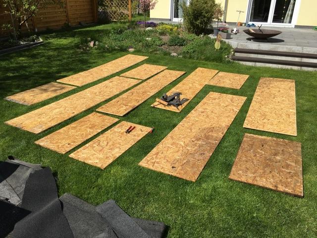 OSB-Dachplatten vom Gartenhaus