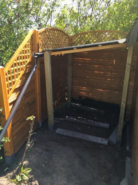 Dachverlängerung am Gartenhaus - Dachüberstand als Holzunterstand