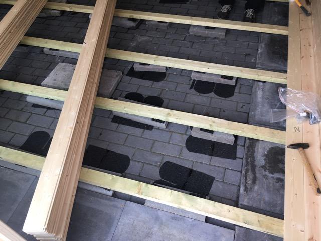 Der Fußboden bevor Bretter drauf sind