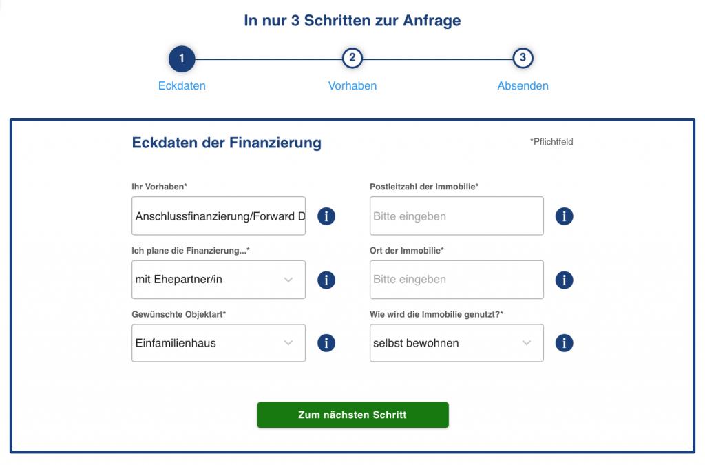 Formular zur Anfrage einer Anschlussfinanzierung