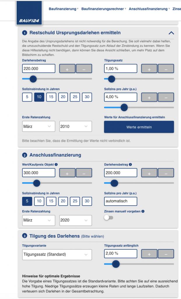 Rechner für Anschlussfinanzierung beim Hausbau von Baufi24